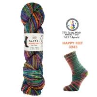 Пряжа Gazzal Happy Feet (3243 радуга+серый)