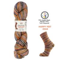 Пряжа Gazzal Happy Feet (3244 оранж-серый-голубой-зеленый)