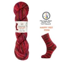 Пряжа Gazzal Happy Feet (3246 красный+радуга)