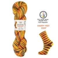 Пряжа Gazzal Happy Feet (3247 желтый-оранж-синий)