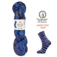 Пряжа Gazzal Happy Feet (3249 синий-коричневый-беж-терракот)