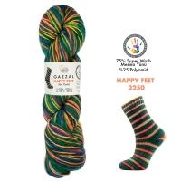 Пряжа Gazzal Happy Feet (3250 изумруд+радуга)