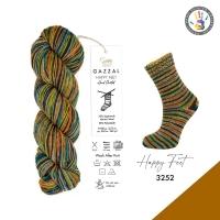Пряжа Gazzal Happy Feet (3252 оранж-беж-корисневый-зеленый)