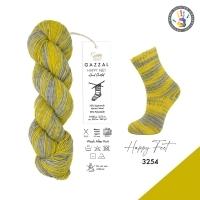 Пряжа Gazzal Happy Feet (3254 желтый-серый)