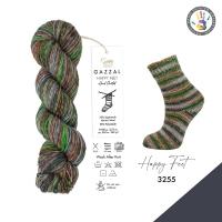 Пряжа Gazzal Happy Feet (3255 серый-беж-коричневый-зеленый)