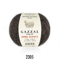 Пряжа Gazzal Peru Alpaca (2305 тёмно-коричневый меланж)