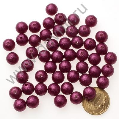 Бусины матовые 10 мм фиолетовые 34