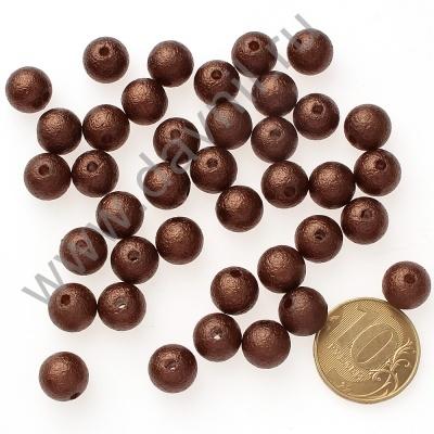 Бусины матовые 10 мм коричневые 33