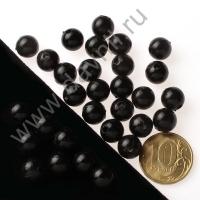 Бусины под жемчуг Круг 10 мм чёрные с перламутром