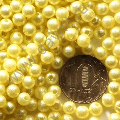 Бусины матовые 6 мм желтые 48
