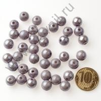 Бусины акрил глянцевые 10 мм серебро 88