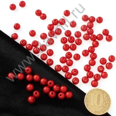 Бусины матовые 6 мм красные 36