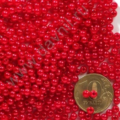 Бусины под жемчуг Круг 4 мм красные с перламутром 12,  1упак- 100 шт