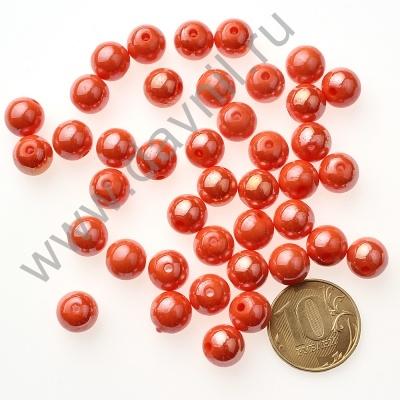 Бусины акрил глянцевые 10 мм оранжевые 71