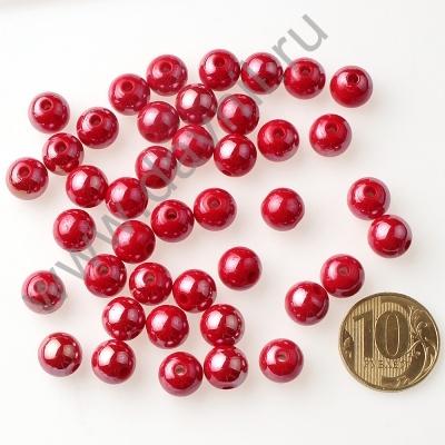 Бусины акрил глянцевые 10 мм красные 73