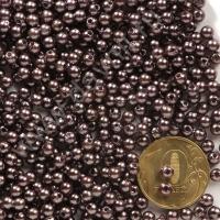 Бусины под жемчуг Круг 4 мм коричневые с перламутром 64, 1упак- 100 шт
