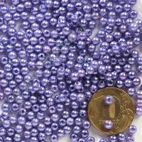 Бусины под жемчуг Круг 4 мм фиолетовые с перламутром 33, 1упак- 100 шт