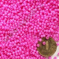 Бусины под жемчуг Круг 3 мм фуксия с перламутром, 1упак- 5гр