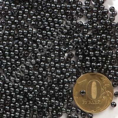 Бусины под жемчуг Круг 3 мм чёрные с перламутром, 1упак- 5гр