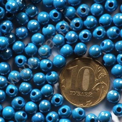 Бусины акрил глянцевые 6 мм синие 80