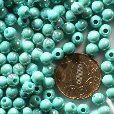 Бусины акрил глянцевые 6 мм голубые 83