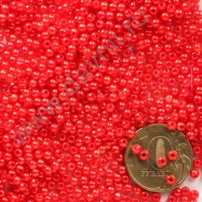 Бусины под жемчуг Круг 3 мм красные с перламутром, 1упак- 5гр