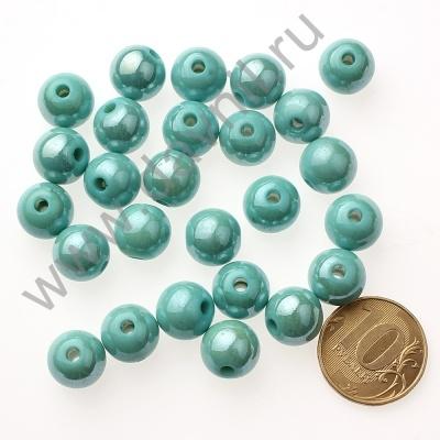Бусины под жемчуг Круг 12 мм голубые 83