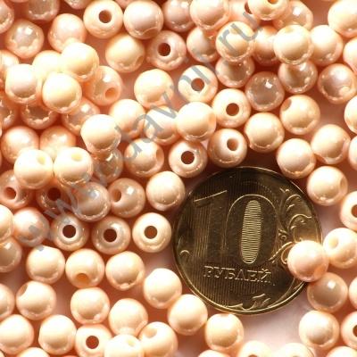 Бусины акрил глянцевые 6 мм персиковые 87