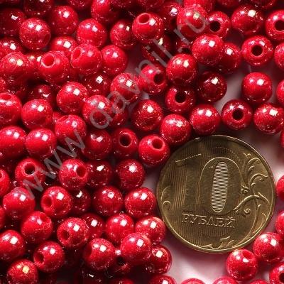 Бусины акрил глянцевые 6 мм красные 73
