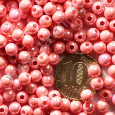 Бусины акрил глянцевые 6 мм розовые 81