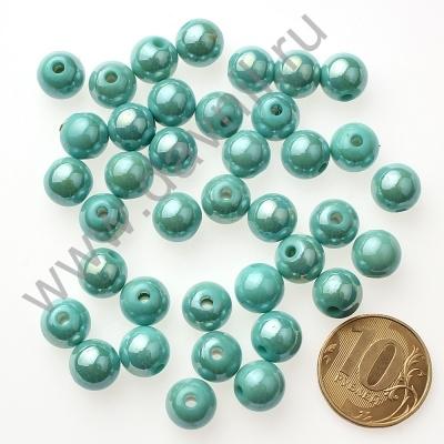 Бусины акрил глянцевые 10 мм голубые 83