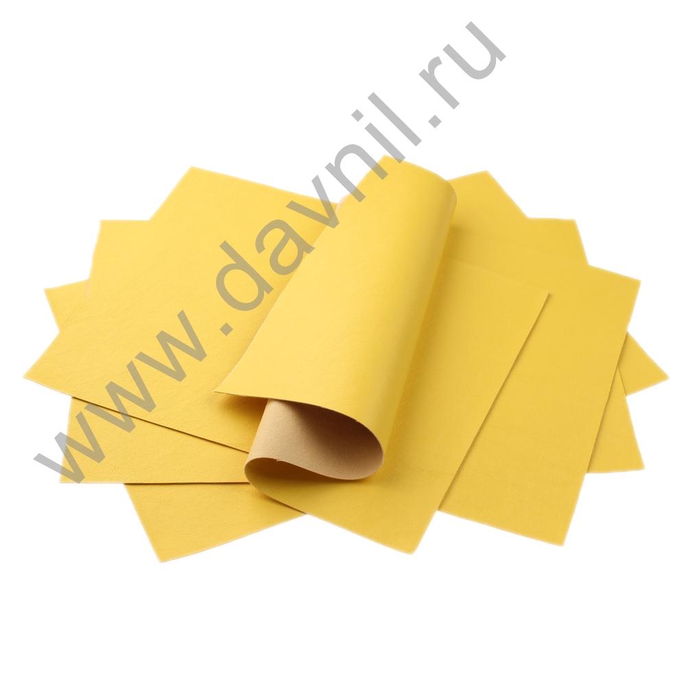 Кожзам листовой однотонный 20х28 см желтый, 1 лист