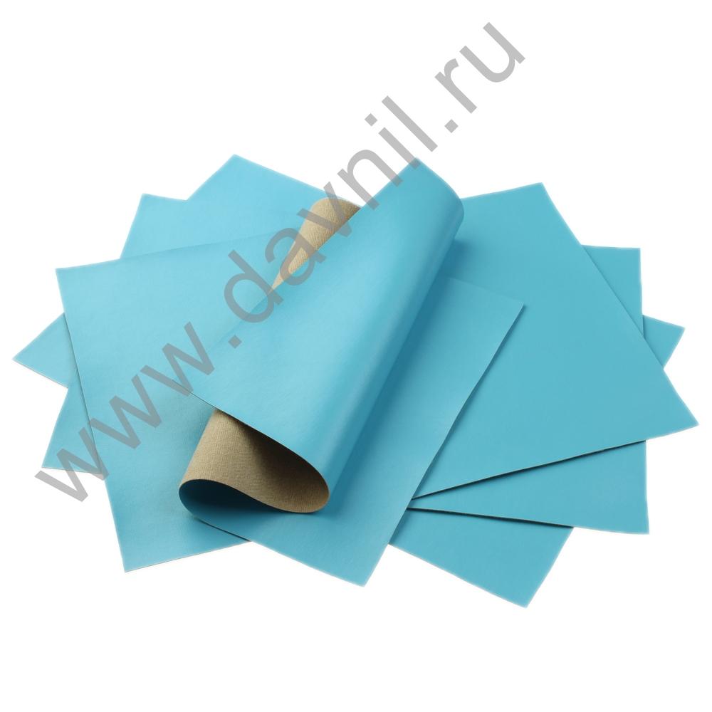 Кожзам листовой однотонный 20х28 см голубой, 1 лист