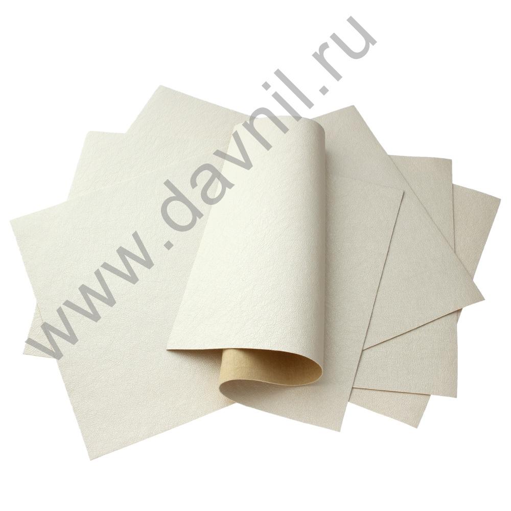 Кожзам листовой однотонный 20х28 см айвори, 1 лист
