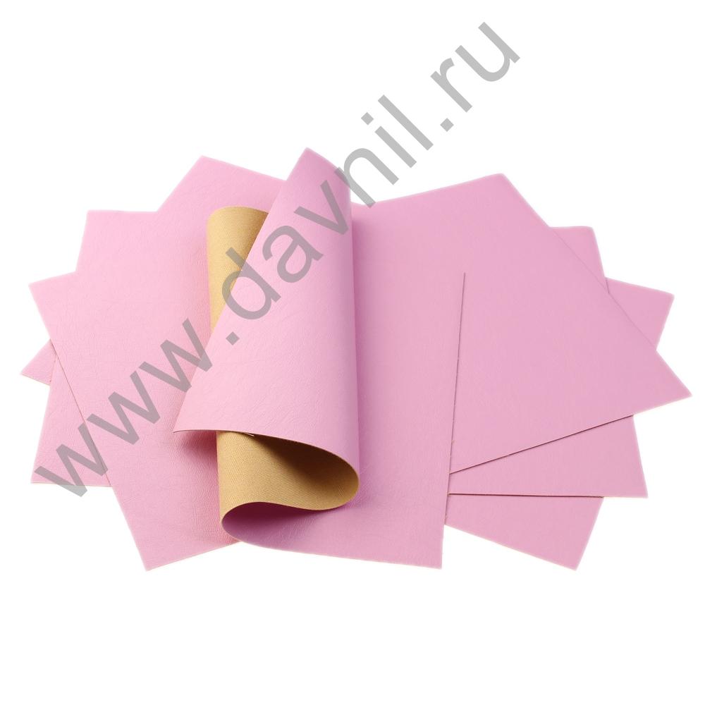 Кожзам листовой однотонный 20х28 см ярко-розовый, 1 лист