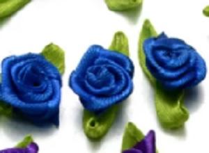 Розочки атласные 15 мм голубые 13