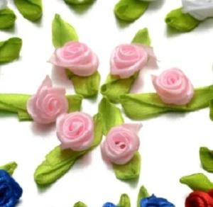 Розочки атласные 15 мм розовые 04