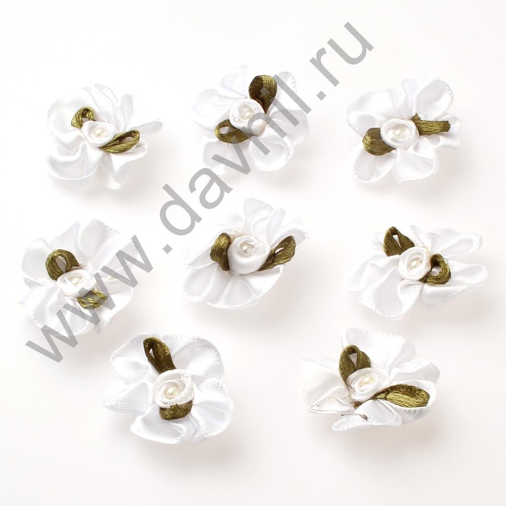Ромашки атласные 30 мм белые 029Ф