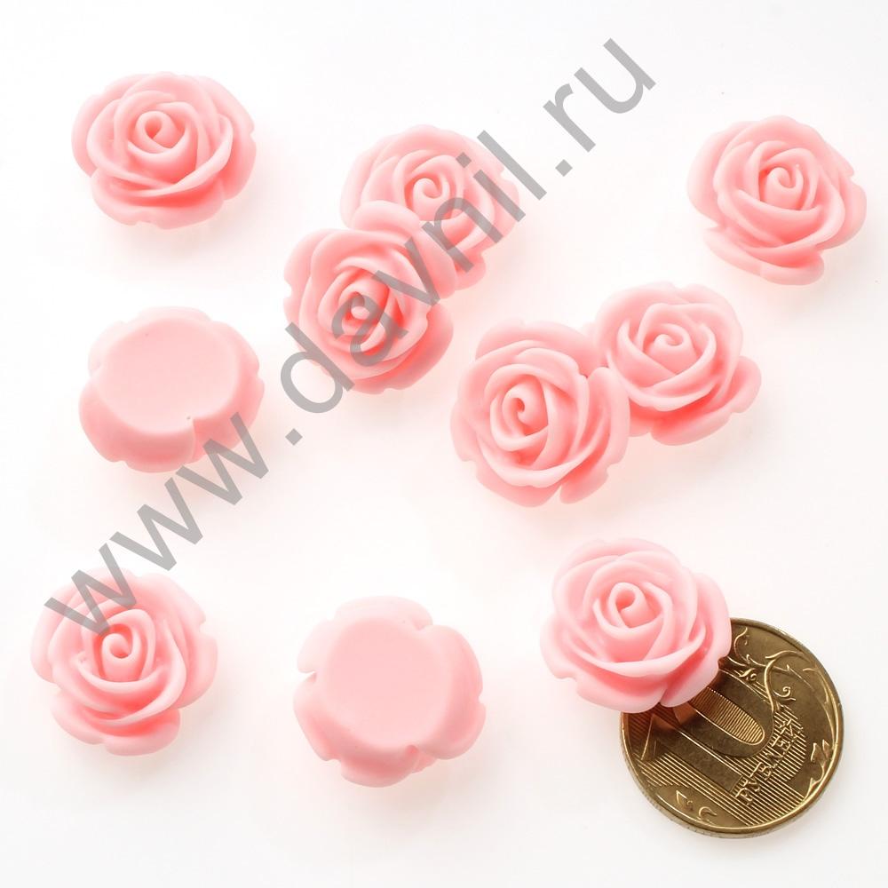 Кабошон Розочка 20 мм розовый