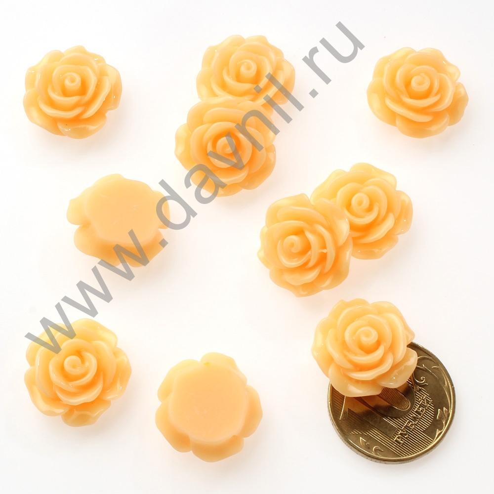 Кабошон Розочка 20 мм оранжевый