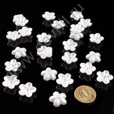 Кабошон цветок 18 мм без отверстия белый перламутр