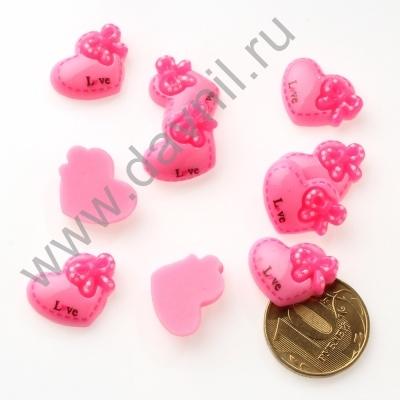 Кабошон Сердечко 20х15 мм розовый