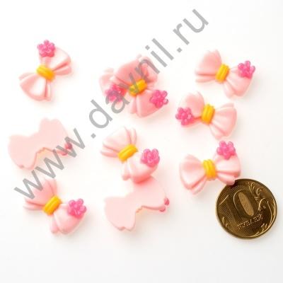 Кабошон Бант 15х22 мм розовый
