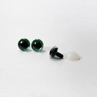 Глазки винтовые в ассортименте с искоркой 12 мм (зеленые)
