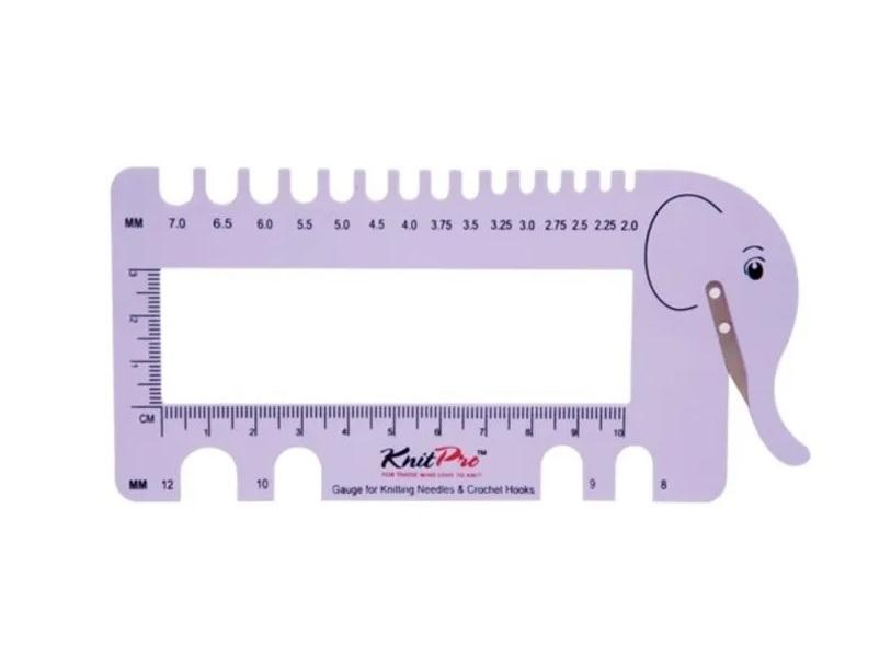 Шкала размеров с резаком для пряжи (лиловый) KnitPro 10995