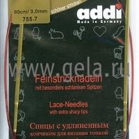 Спицы Addi 80 см 3 мм круговые позолоченные с удлиненным кончиком 755-7/3-80 (755-7/3-80)