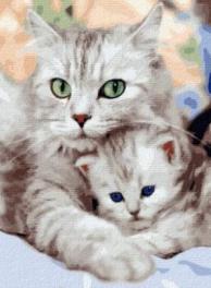Картина по номерам GX 36536 Кошка и котенок 40х50 см