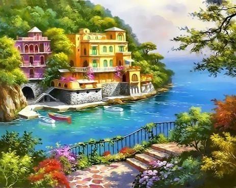 Картина по номерам GX 7821 Морской городок 40х50 см