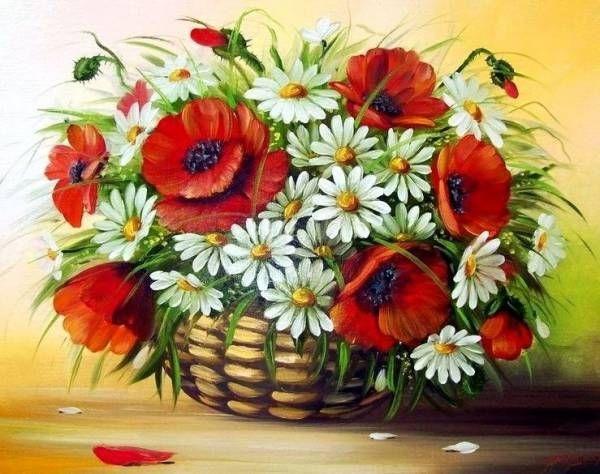 Картина по номерам GX 9473 Корзина с ромашками и маками 40х50 см