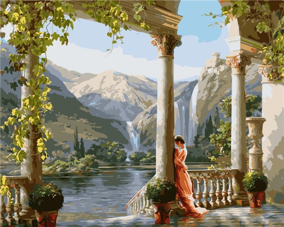 Картина по номерам VA-1514 Девушка в горах 40х50 см